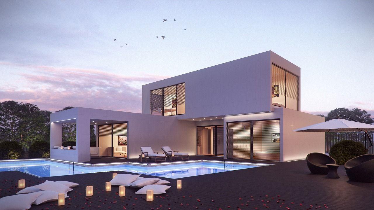 Ein modernes schönes Haus mit Pool